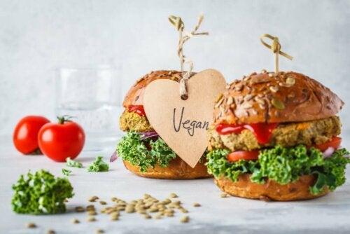 Two vegan burgers.