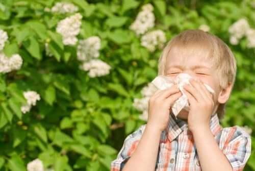 Boy sneezing because of pollen allergies.