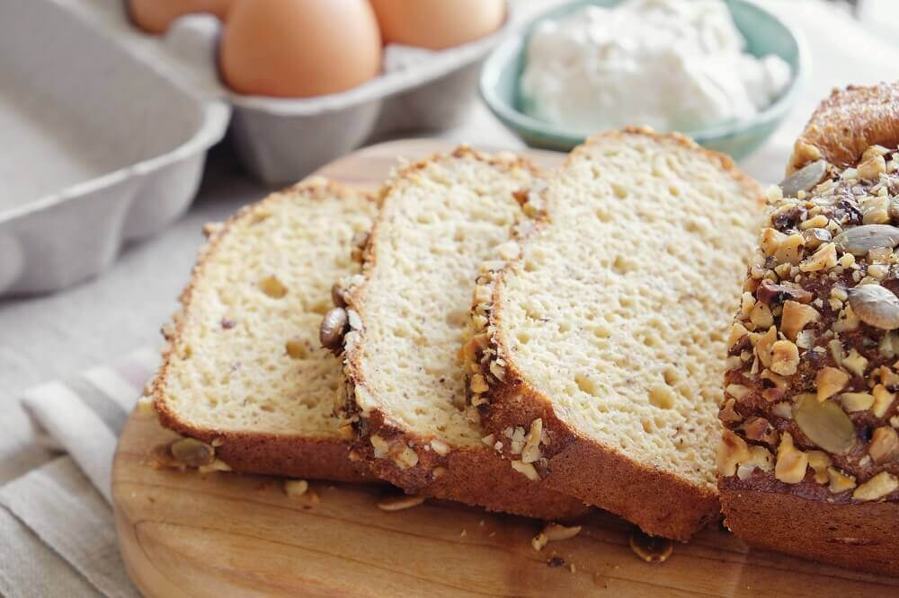 Coconut and almond bread slices.