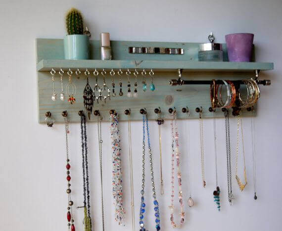 Accesories on a wall organizer.