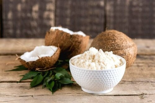 Grated coconut in a bowl.