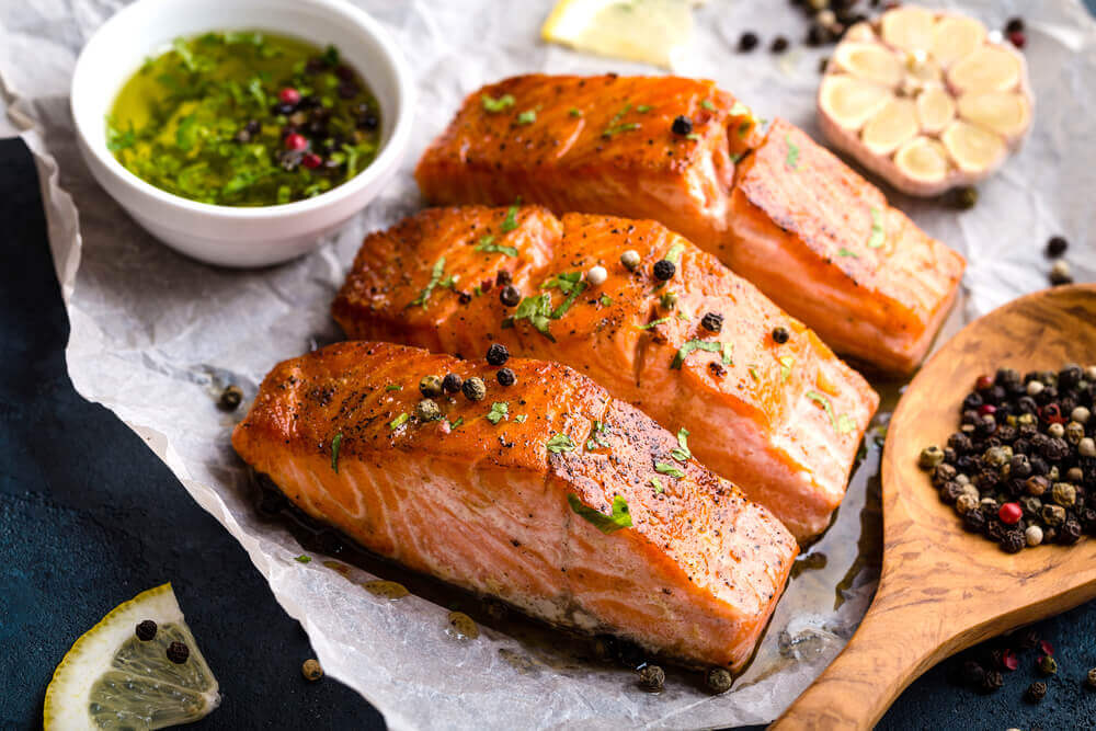 Baked salmon is rich in Omega 3.