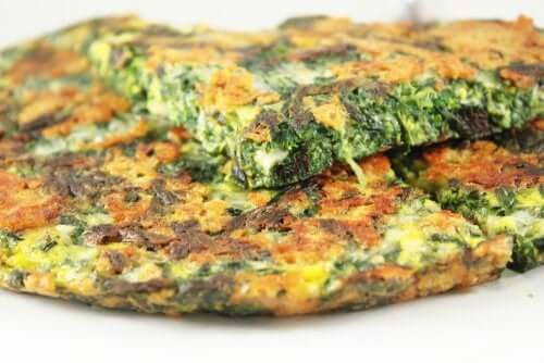 A spinach omelet.