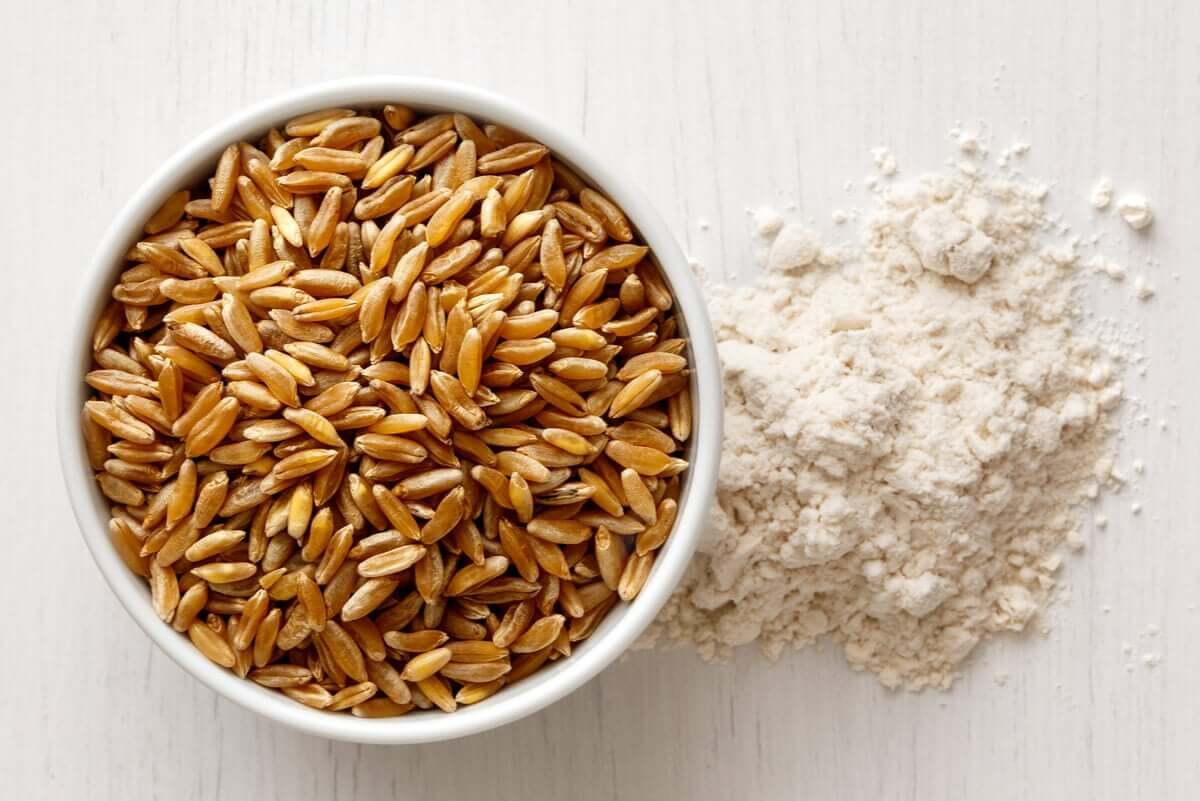 Kamut grains and flour.
