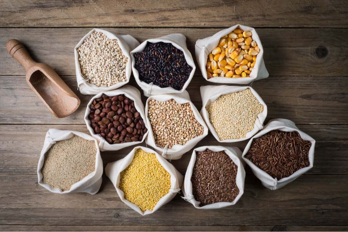 Different types of gluten-free grains.