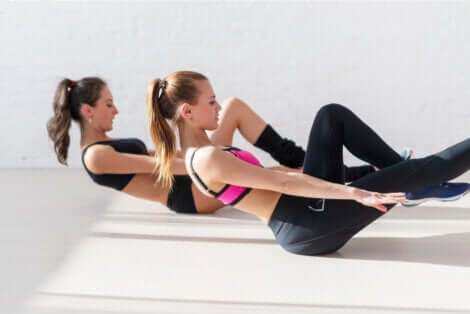 Woman doing ab exercises.