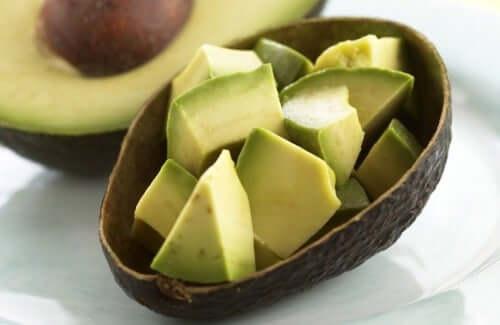 Avocado cut in cubes.