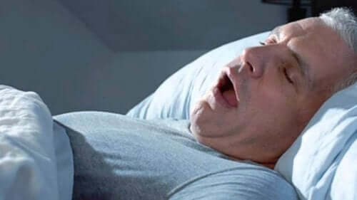 A man snoring.