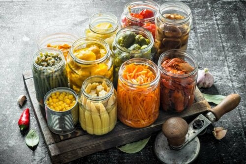 Jars of fresh food.
