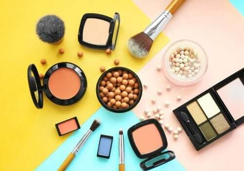 An assortment of cosmetics.