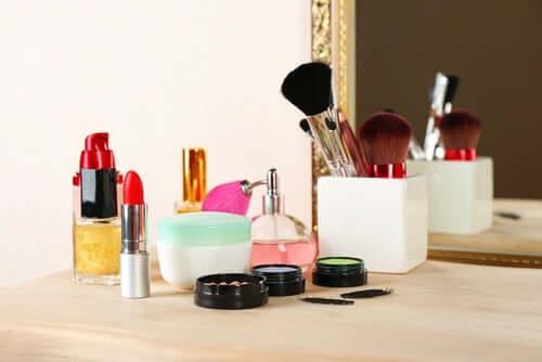 Cosmetics on a dresser.