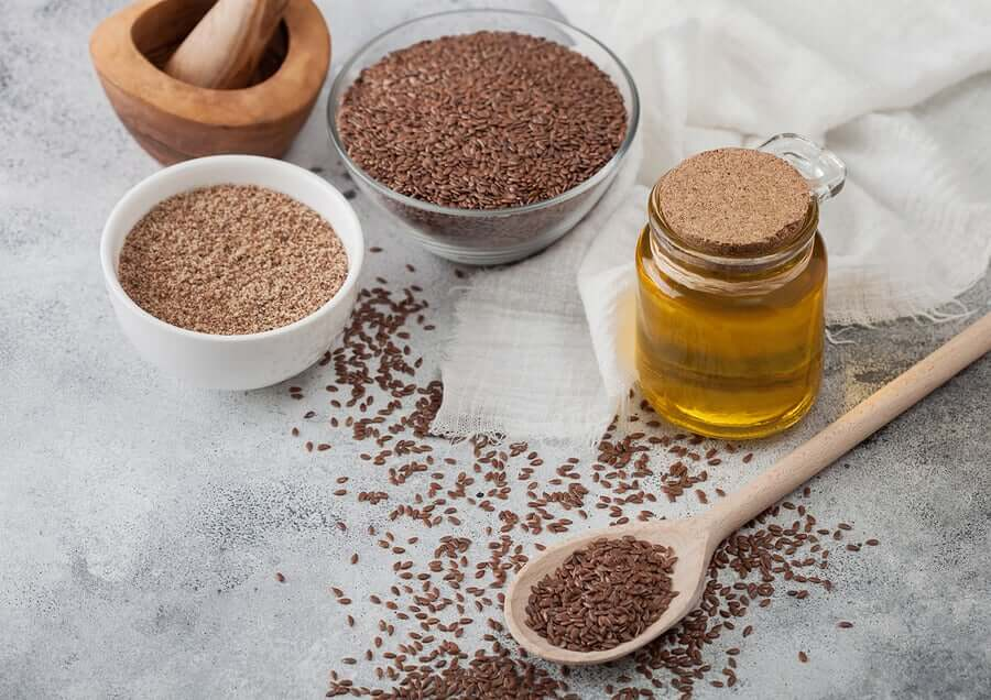 Flaxseeds, ground flax, and flaxseed oil.