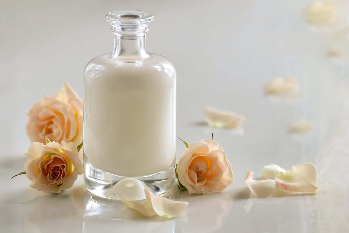 Buttermilk in a jar with roses.