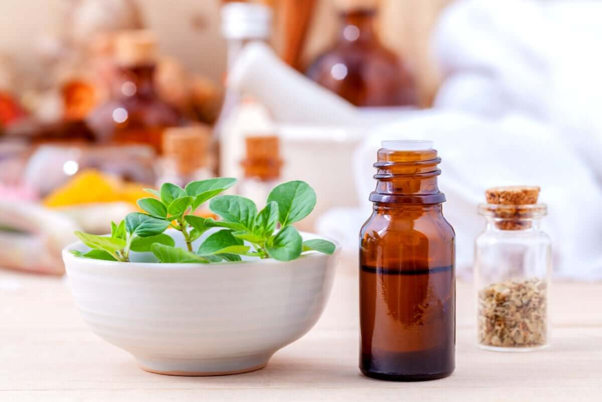 A bowl of fresh oregano next to a bottle of essential oil.