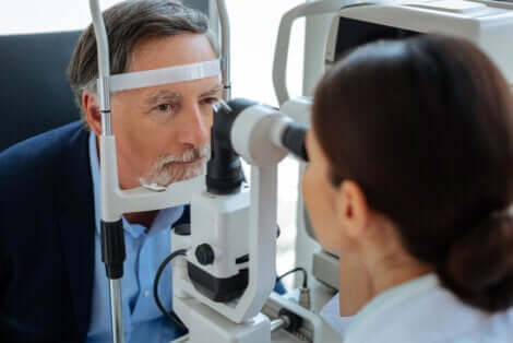 Man at the optometrist.