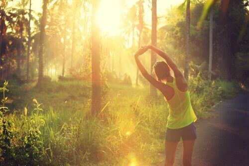A woman stretching before a run in a tropical forest at sunrise.