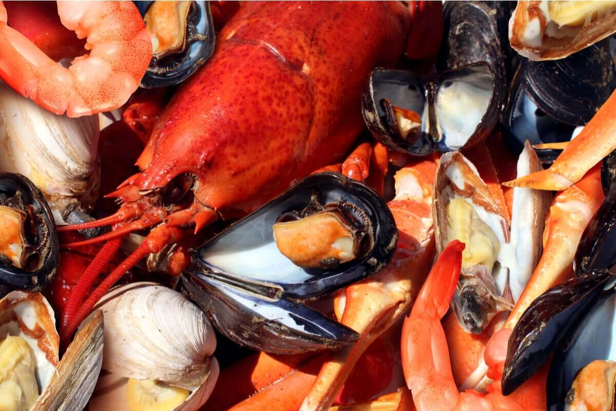 Shellfish and seafood.