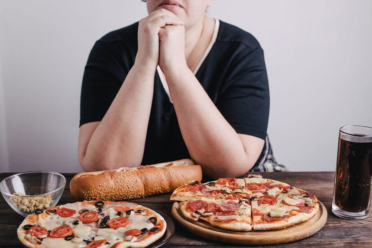 A woman with food.