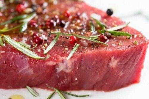A seasoned steak.