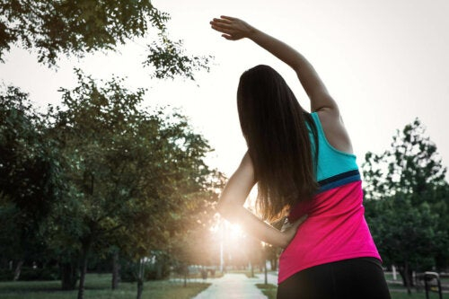 A jogger stretching.