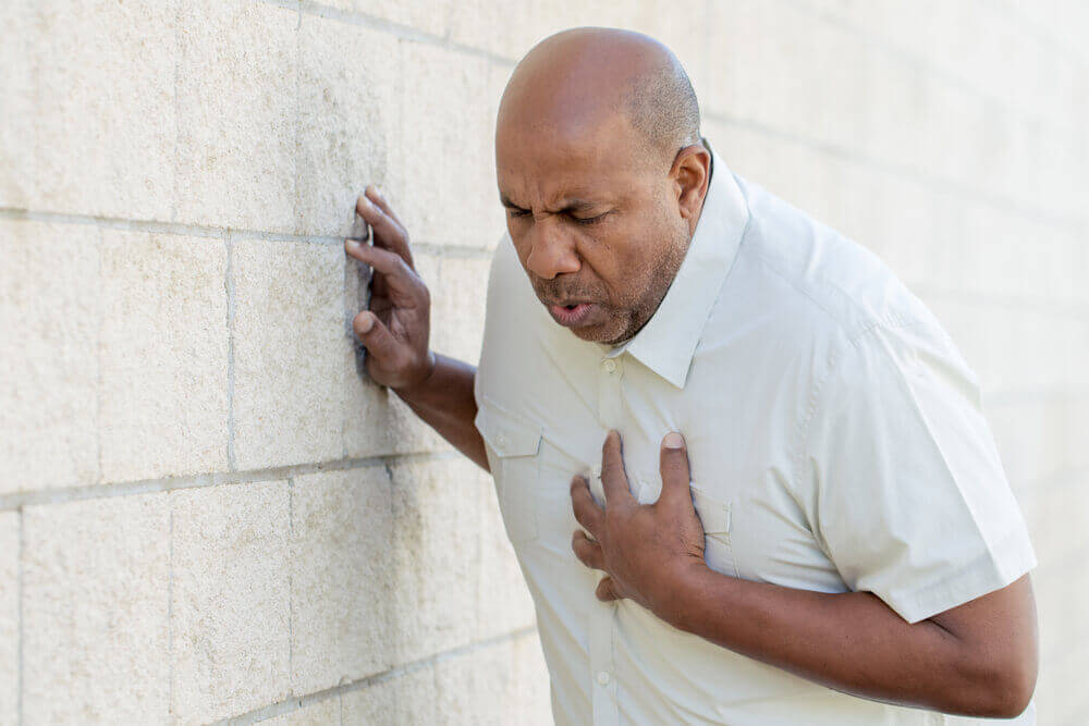 A man in pain due to ischemic heart disease.
