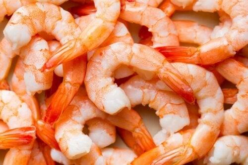 A plate full of shrimp.