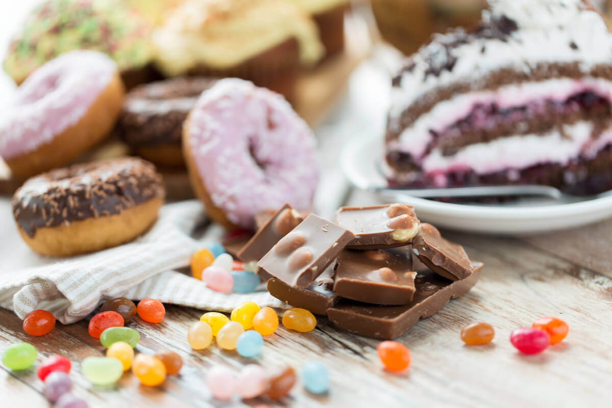 Different types of cakes and candy.