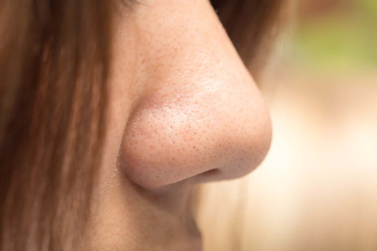 A closeup of the side of a woman's nose.