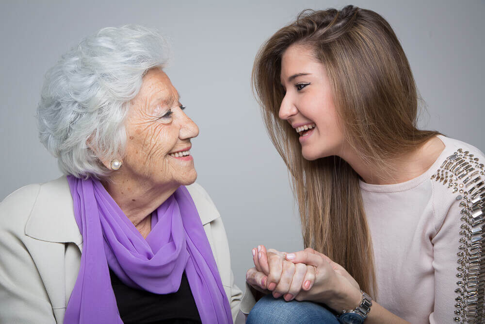 A young woman and an elderly lady.