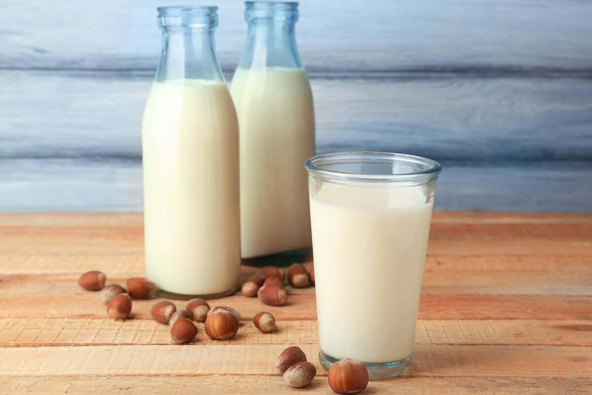 A glass of almond milk.