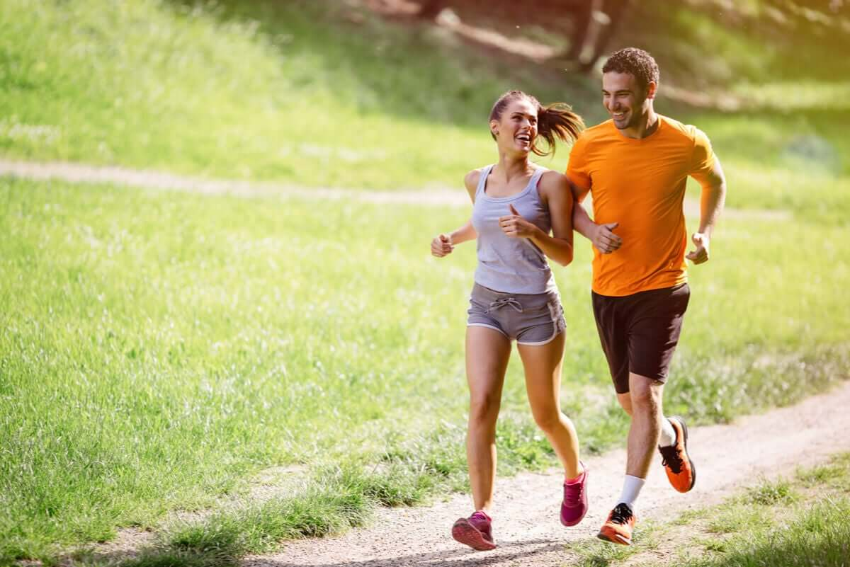 Couples who exercise together can help keep each other motivated.