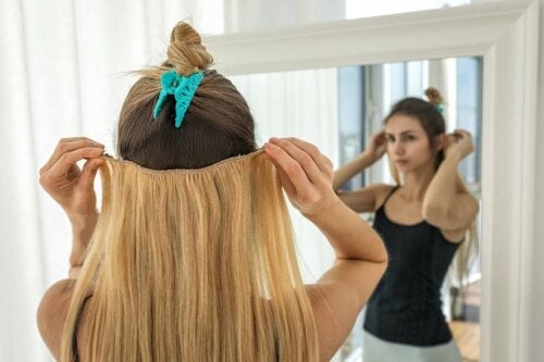Woman with hair extensions.