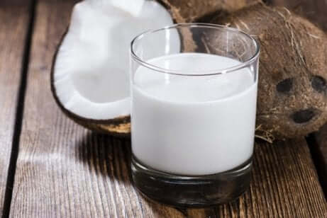 A glass of coconut milk.