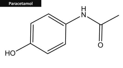 The chemical composition of acetaminophen, also known as paracetamol.