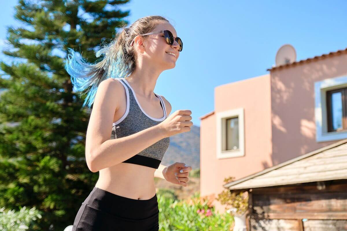 A woman with epilepsy running.