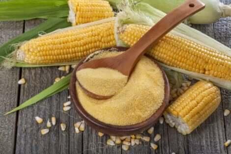 Corn flour in a bowl.
