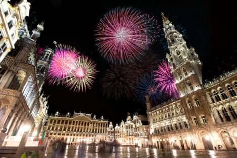 Fireworks over the town square.