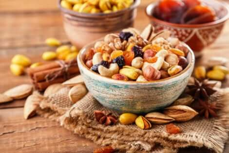 Mixed nuts in bowls.