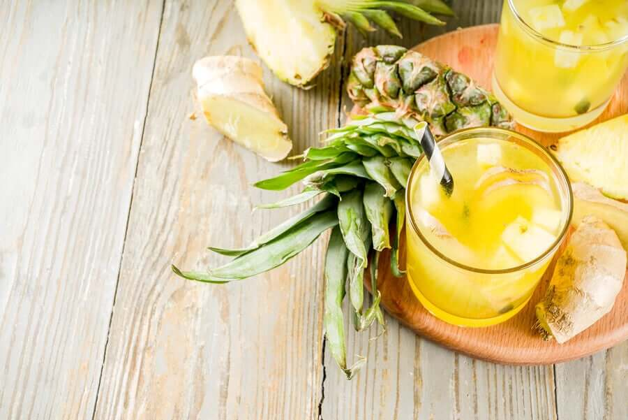 Fresh pineapple and pineapple juice.