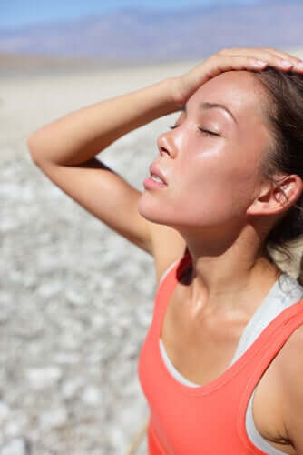 A woman with heat stroke.