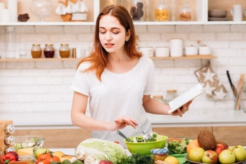 A woman cooking a healthy recipe.