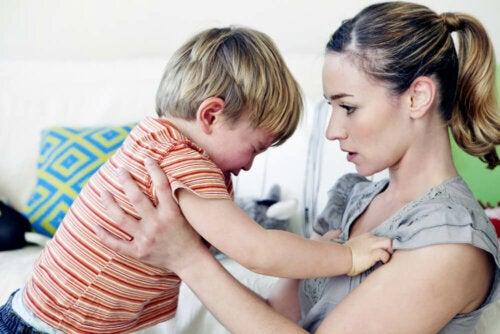 A little boy throwing a tantrum.