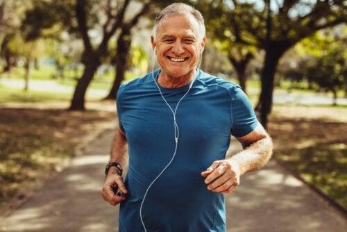 A man running.