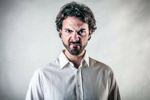 A man undergoing an angry outburst.