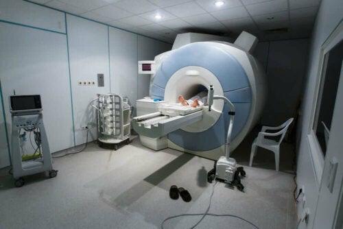 A person undergoing an MRI.