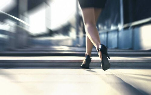 A woman in high heels.