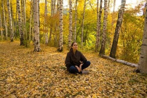 A woman meditating in the woods.