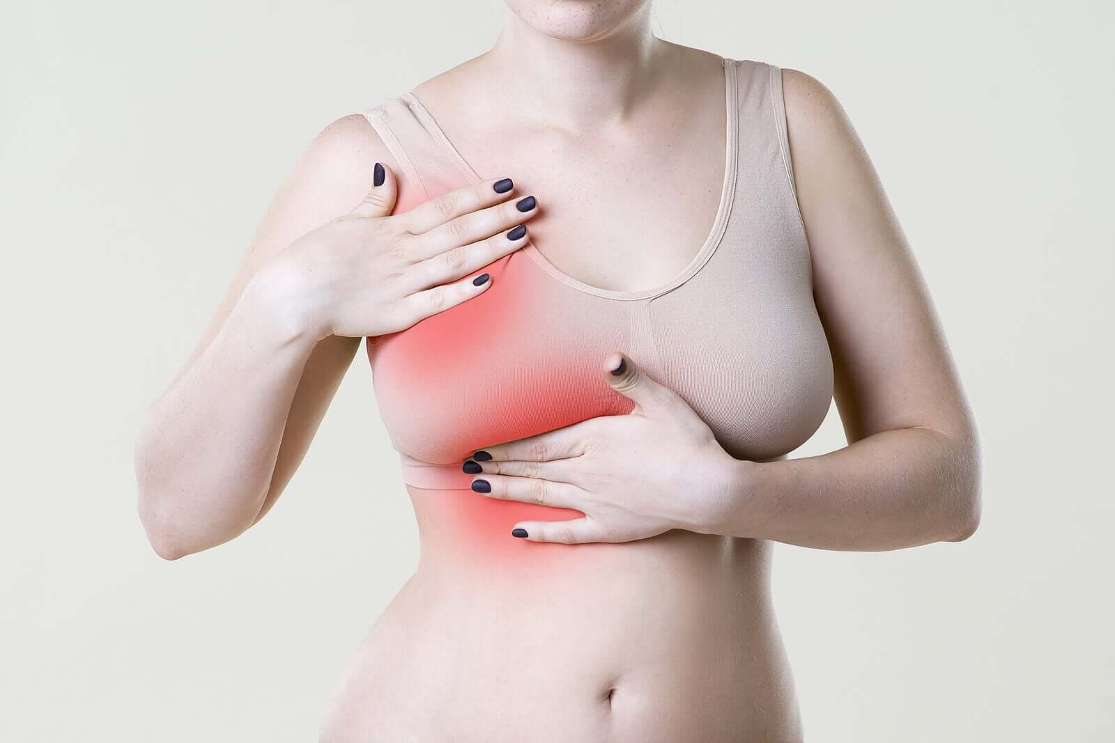 A woman with breast pain.