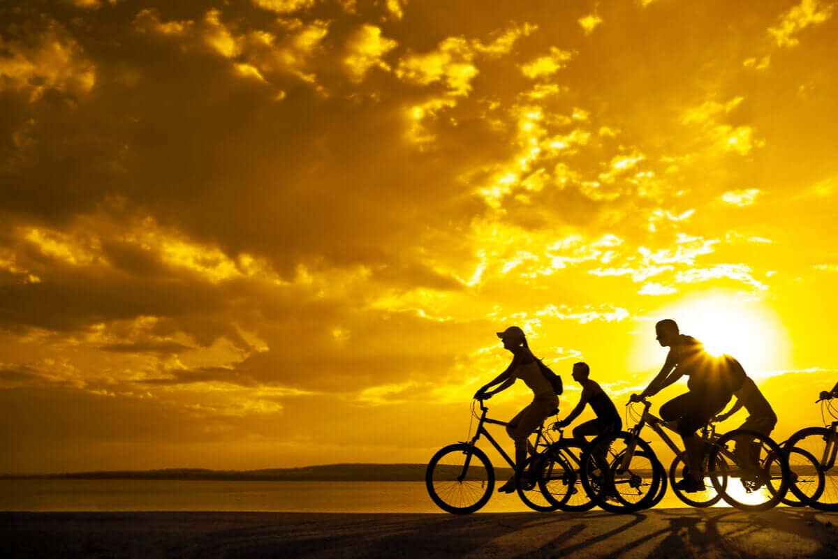 A family riding their bikes at sunset.