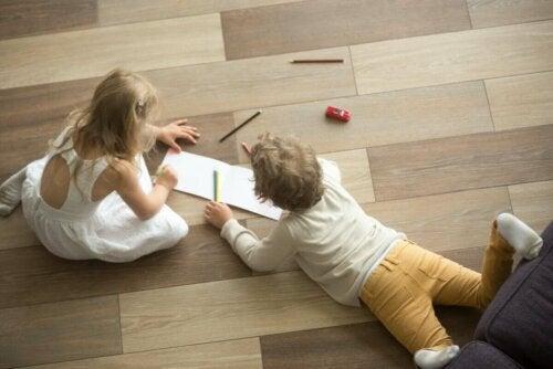 Children on a fake hardwood floor.